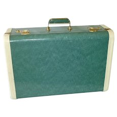 Mottled Green Vintage 21 Inch Suitcase With Keys