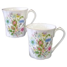Aynsley Bone China Wild Tudor Flowers Coffee Mugs