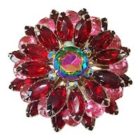 Watermelon, Red, Pink Large 5 Layer Flower Brooch