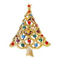 Goldtone Christmas Tree Pin Multicolor Rhinestones