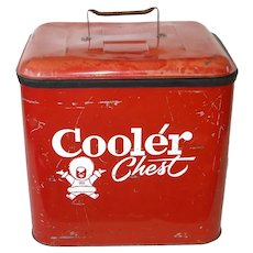 Metal Red and White Eskimo Picnic Cooler Ice Chest