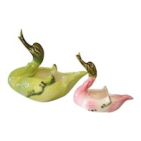 Green Pink Hull Pottery Swans Pair Planters