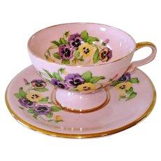 Leneige Pink Porcelain Pansies Teacup and Saucer