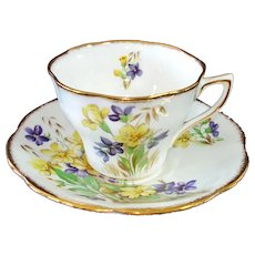Purple Yellow Violets Bone China Teacup and Saucer