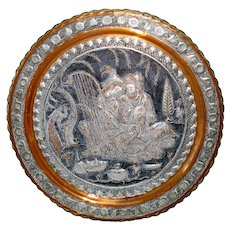Persian Lovers Tinned Copper 19 Inch Antique Wall Charger