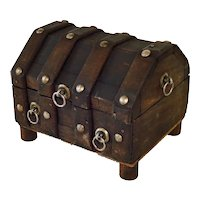 1970s Wooden Jewelry Chest Pirate Style