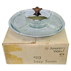 Club Glass Chrome Lazy Susan Server in Original Box