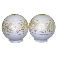 Pair Mid Century Gold White Glass Globe Shades