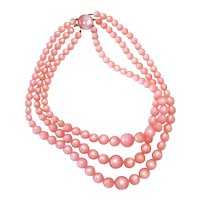 Richelieu Triple Strand Pink Moonglow Bead Necklace