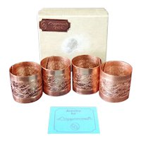 Coppercraft Guild Engraved Copper Napkin Rings Boxed Set