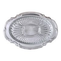 Kent Silverplate Oval Tray With Glass Relish Dish Insert