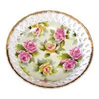 Lefton Reticulated Porcelain Roses Bowl