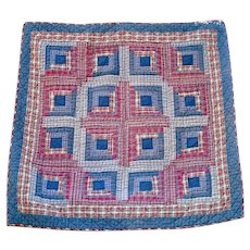 Red Blue Plaid Log Cabin Wall or Lap Quilt 44 Inches