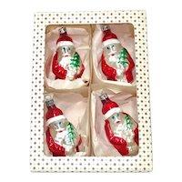 Box Poland Glass Santa Claus Christmas Ornaments