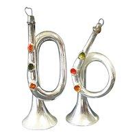 German Free Blown Glass Horns Christmas Ornaments
