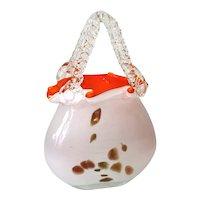 Art Glass Purse Vase Orange White Copper Millefiori
