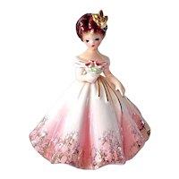 Josef Originals Pink Dress Girl with Bouquet Figurine