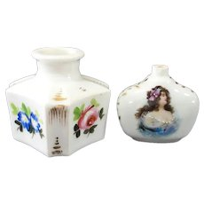 Two Antique French Porcelain Perfume Bottles