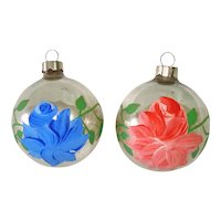 1930s USA Hand Painted Roses Glass Christmas Ornaments