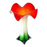 Italian Art Glass Flower Form Tall Vase