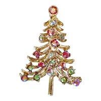 Aurora Rhinestone Christmas Tree Brooch Pin