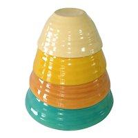 Bauer Ring Ware Set 4 Mixing Bowls Original