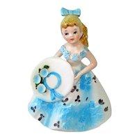 Lefton Ponytail Teenager Figurine Blue Flowered Dress
