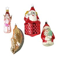 Santas, Angels, Man in Moon Glass Christmas Ornaments