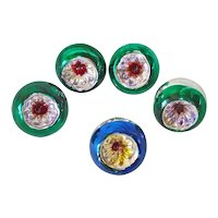 Miniature Japan Feather Tree Indent Glass Christmas Ornaments
