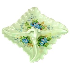 Hand Painted Forget Me Nots Divided Pottery Tray Dish