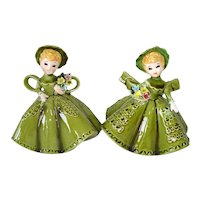 Pair Lefton Southern Belle Flower Girl Figurines