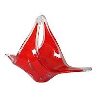Red Cased Glass Basket Millefiori Decoration
