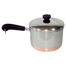 1983 Revere Ware Copper Clad Stainless 3 Qt Covered Saucepan