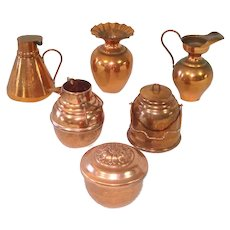 6 Piece Miniature Solid Copper Kitchenware Doll Display
