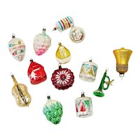 14 West German 1960s Figural Glass Christmas Ornaments