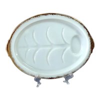 Fire King Footed Milk Glass Meat Platter