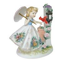 Lefton Parasol Girl With Cardinal Bisque Figurine