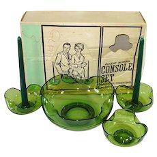 Anchor Hocking Avocado Green Console Set in Box 4 Piece