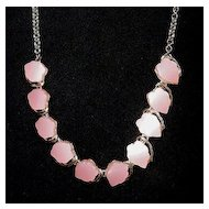 Moonstone Pink Lucite Hearts Choker Necklace
