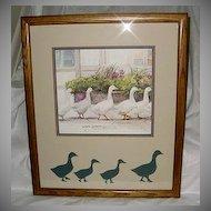 1983 Dawna Barton Framed Geese Print Dinner Call