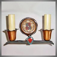 Gothic Revival Copper Cast Iron Double Sconce Light Fixture