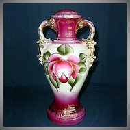 Hand Painted Magenta Stylized Rose Urn Lamp Base