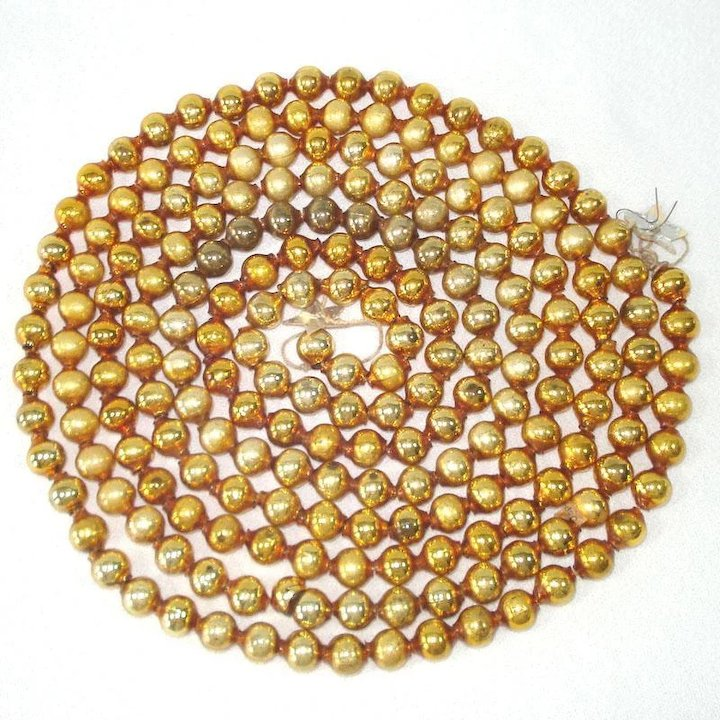 gold mercury glass beaded christmas garland large beads - Beaded Christmas Garland