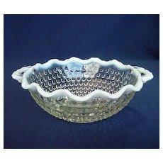 Hocking Moonstone Handled Crimped Rim Bowl