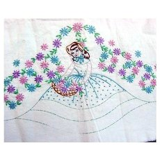 Southern Belle Embroidered Pillowcase to Finish with Crochet Ruffles
