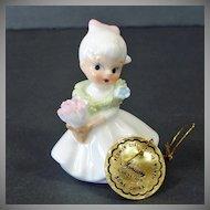 Napco Miniature Porcelain Bisque Angel With Bird Figurine