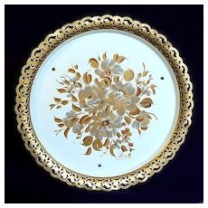 Nashco Musical Hand Painted Gold Flowers Tole Tray