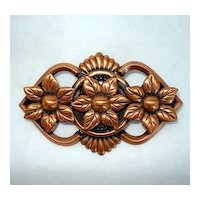 Pretty Copper Flower Brooch