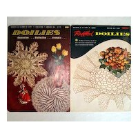 2 1950s Coats Clark Ruffled Doilies Crochet Pattern Books