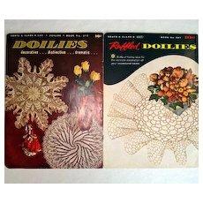 2 1950s Coats Clark Ruffled Doilies Crochet Pattern Books